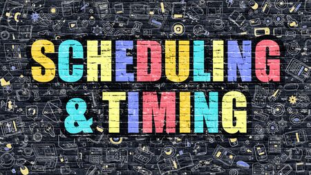 scheduling: Scheduling and Timing in Multicolor. Doodle Design.