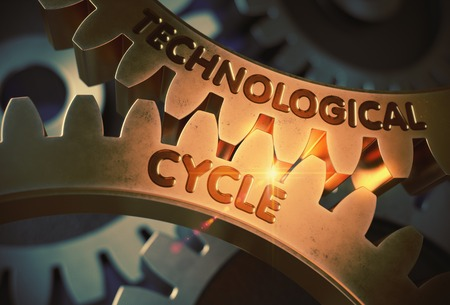 Technological Cycle on Golden Cog Gears. 3D Illustration. Stock Photo