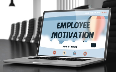 inducement: Employee Motivation on Laptop in Conference Room. 3D. Stock Photo