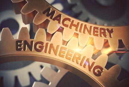 remedial: Machinery Engineering on Golden Cogwheels. 3D Illustration.