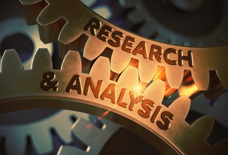 Research And Analysis on Golden Cog Gears. 3D Illustration. Stock Photo