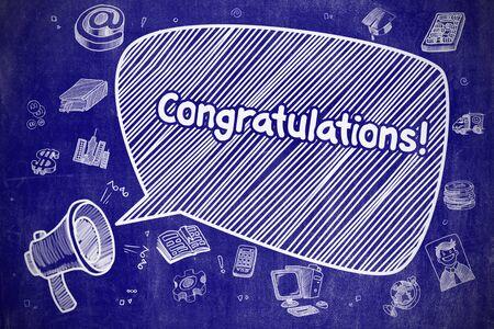 Congratulations - Doodle Illustration on Blue Chalkboard.