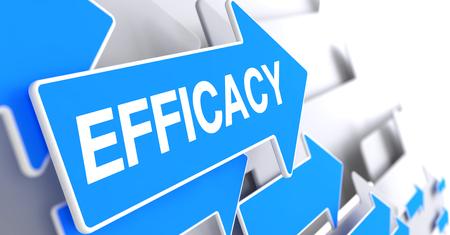 potency: Efficacy - Inscription on Blue Pointer. 3D.