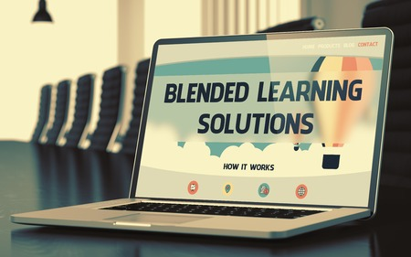 Blended Learning Solutions Concept on Laptop Screen. 3D.
