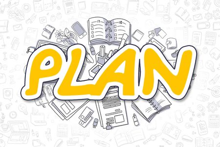 Plan - Doodle Yellow Word. Business Concept. Stock Photo