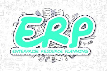 ERP - Cartoon Green Word. Business Concept. Stock Photo