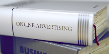 interstitial: Online Advertising. Book Title on the Spine. 3D.
