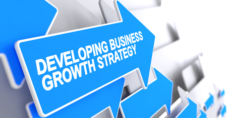 Developing Business Growth Strategy - Inscription on the Blue Cu