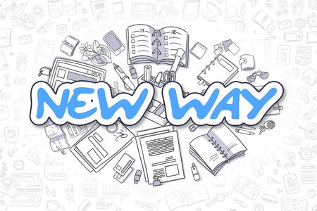 new opportunity: Doodle Illustration of New Way, Surrounded by Stationery. Business Concept for Web Banners, Printed Materials. Stock Photo