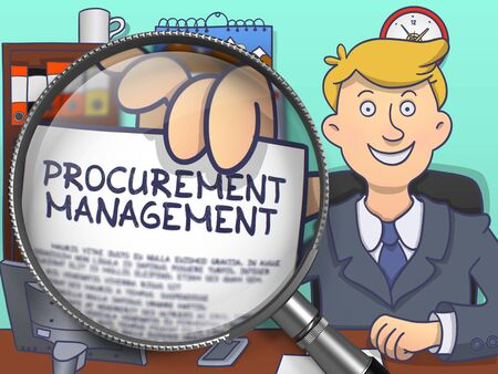 offiice: Procurement Management. Handsome Business Man Sitting in Offiice and Shows Paper with Concept through Lens. Colored Doodle Illustration. Stock Photo