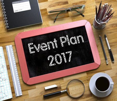 a meeting with a view to marriage: Event Plan 2017 Handwritten on Small Chalkboard. Red Small Chalkboard with Handwritten Business Concept - Event Plan 2017 - on Office Desk and Other Office Supplies Around. Top View. 3d Rendering.