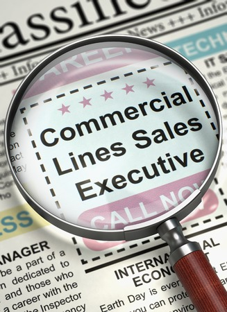 account executive: Illustration of Jobs of Commercial Lines Sales Executive in Newspaper with Loupe. Newspaper with Jobs Commercial Lines Sales Executive. Job Search Concept. Blurred Image. 3D Rendering.