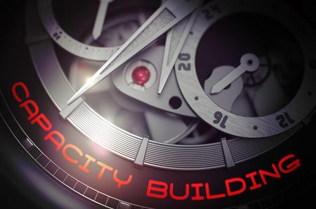 cronógrafo: Construcción de capacidad en los hombres de reloj automático, cronógrafo del primer. Construcción de capacidad en el viejo reloj de Detalle, cronógrafo de cerca. Concepto de negocio con efectos de luz brillante. Representación 3D.