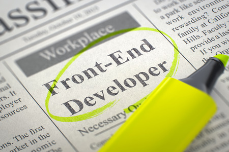 heuristics: Front-End Developer - Job Vacancy in Newspaper, Circled with a Yellow Marker. Blurred Image. Selective focus. Job Search Concept. 3D Render. Stock Photo