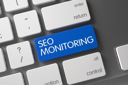 rewriting: Keyboard with Blue Key - SEO Monitoring. 3D.