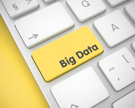 assemblage: Big Data - Text on Yellow Keyboard Key. 3D. Stock Photo