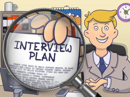 interrogatory: Interview Plan through Magnifying Glass. Doodle Concept. Stock Photo