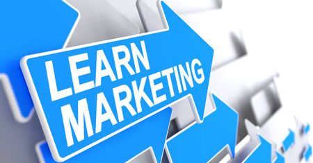 Learn Marketing - Text on the Blue Pointer. 3D.