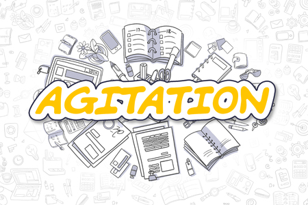 Agitation - Doodle Yellow Word. Business Concept.