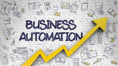 Business Automation Drawn on Brick Wall. Stock Photo