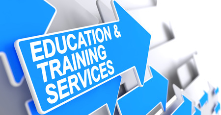 Education And Training Services - Text on Blue Arrow. 3D. Stock Photo