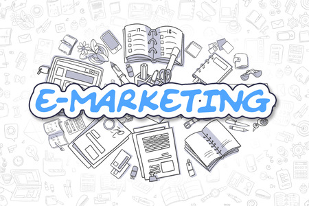 emarketing: E-Marketing - Cartoon Blue Word. Business Concept.