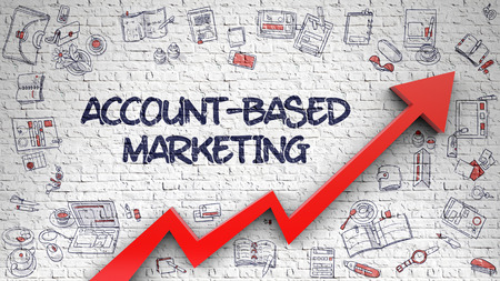 Account-Based Marketing Drawn on White Brick Wall.
