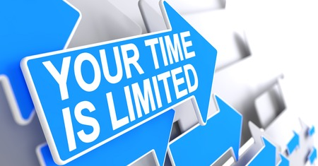 delegate: Your Time Is Limited - Label on the Blue Pointer. 3D.