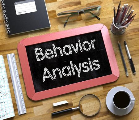 responsibility survey: Behavior Analysis Concept on Small Chalkboard. 3D.
