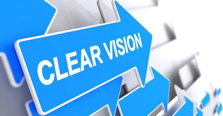 Clear Vision - Inscription on the Blue Arrow. 3D. Stock Photo