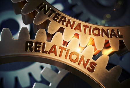 golden rule: International Relations on Golden Gears. 3D Illustration. Stock Photo