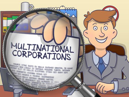 Multinational Corporations through Magnifying Glass. 免版税图像
