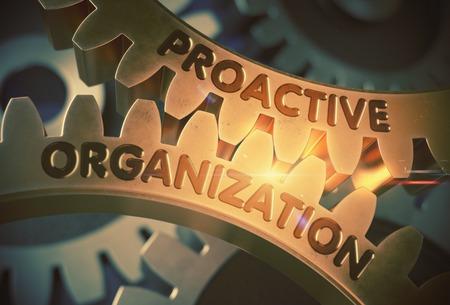 Proactive Organization on Golden Gears. 3D Illustration. Stock Photo