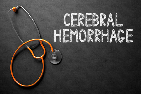 hemorragia: Cerebral Hemorrhage Concept on Chalkboard. 3D Illustration. Foto de archivo