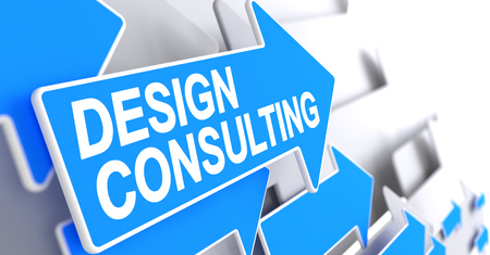 Design Consulting - Label on Blue Cursor. 3D.
