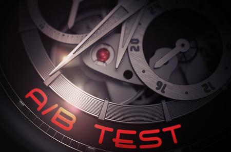 randomized: AB Test on Mechanical Pocket Watch Mechanism. 3D. Stock Photo