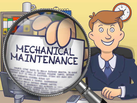 prophylactic: Mechanical Maintenance through Magnifying Glass. Doodle Style.