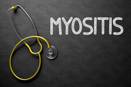 myopathy: Myositis Concept on Chalkboard. 3D Illustration. Stock Photo