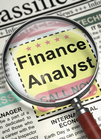 Finance Analyst Wanted. 3D. Stock Photo