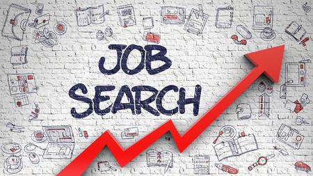 Job Search Drawn on White Brickwall.