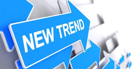 New Trend - Message on Blue Cursor. 3D. Foto de archivo