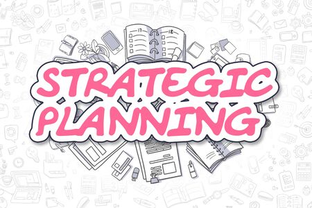 planificacion estrategica: Strategic Planning - Cartoon Magenta Text. Business Concept. Foto de archivo
