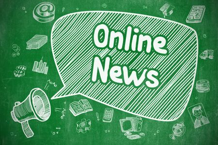green chalkboard: Online News - Doodle Illustration on Green Chalkboard. Stock Photo