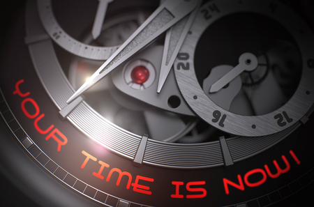 popularity: Your Time Is Now on Automatic Men Wrist Watch Mechanism. 3D. Stock Photo