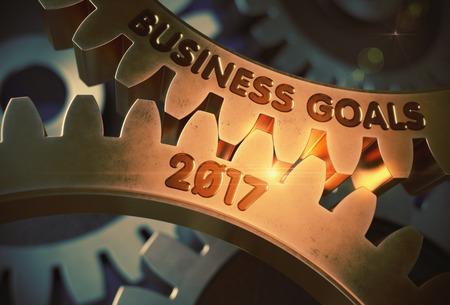 Business Goals 2017 on Golden Cogwheels. 3D Illustration. Stock Photo