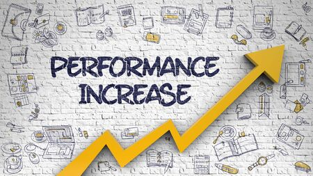 throughput: Performance Increase Drawn on Brick Wall. Stock Photo