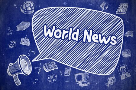 world news: World News - Cartoon Illustration on Blue Chalkboard. Stock Photo