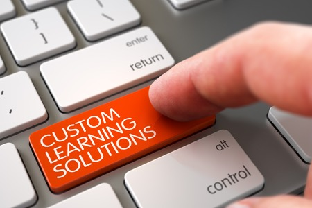 Custom Learning Solutions - Keyboard Key Concept. 3D. Stock Photo