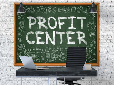 subunit: Profit Center on Chalkboard in the Office. 3D.