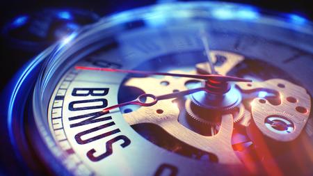 ボーナス - ポケット付きヴィンテージ時計上のフレーズ。3 D イラスト。